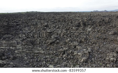 Volcanic landscape in the northeast of china - stock photo
