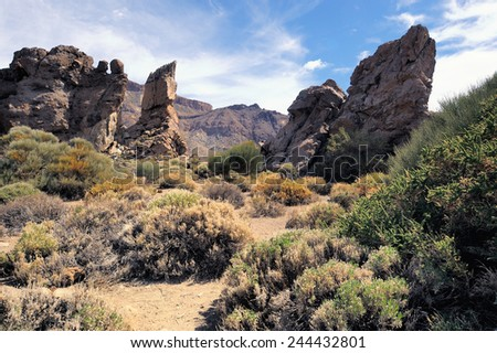 Volcanic landscape of Teide National Park. Tenerife, Canary Islands - stock photo