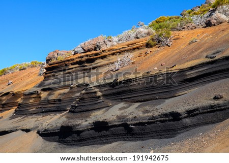 Volcanic landscape of Tenerife, Canary Islands, Spain. - stock photo