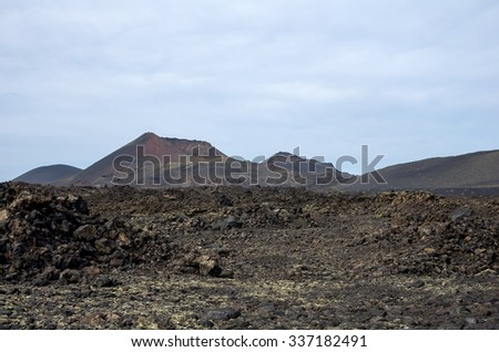 Volcanic landscape of the island of Lanzarote, Canary Islands, Spain - stock photo