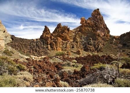 Volcanic landscape on Teide, Tenerife, Spain. - stock photo