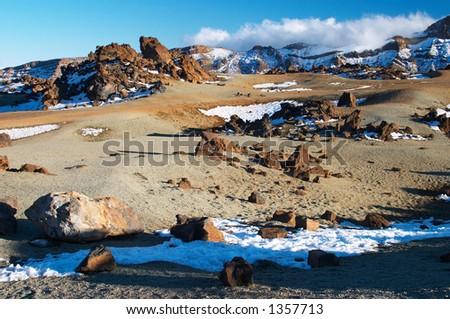Volcanic landscape, Teide volcano caldera (Tenerife) - stock photo