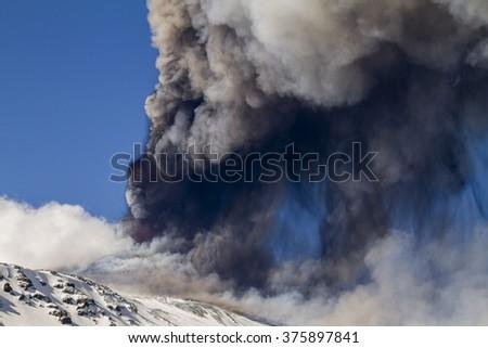 Volcanic plume ash  - stock photo
