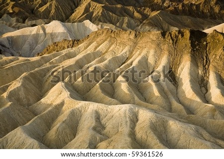 Volcanic rock formations at Zabriskie Point in Death Valley National Park in California.