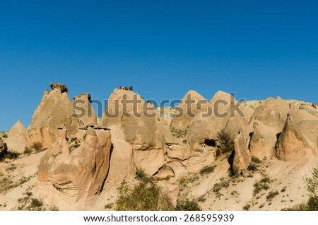 Volcanic rock landscape, Cappadocia, Turkey, Anatolia, Goreme national park - stock photo