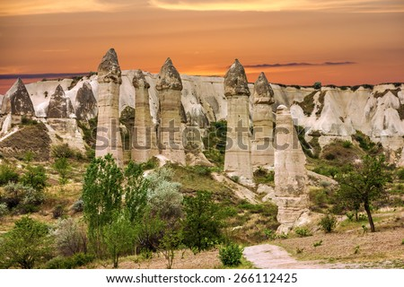 Volcanic rocks, Cappadocia, Anatolia, Turkey. Goreme national park. - stock photo