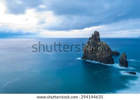 Volcanic rocky formation on Ribeira da Janela, Madeira (Portugal) - stock photo