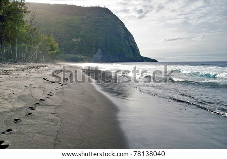 Volcanic sands beach on the Big Island in stormy weather. Hawaii. USA - stock photo