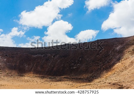 Volcanic soil landscape in Lanzarote, Canary Island  - stock photo