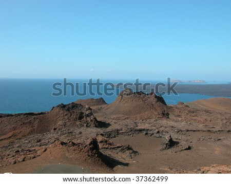 Volcanic spatter cones at The Galapagos Islands. - stock photo