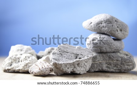 Volcanic stones, with different texture and colors. - stock photo