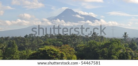 Volcano amidst tropical rainforest