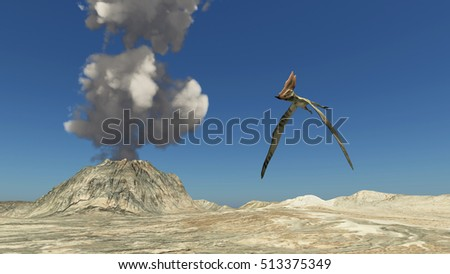 Volcano and the pterosaur Thalassodromeus Computer generated 3D illustration