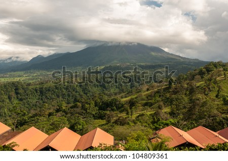 Volcano Arenal landscape on a cloudy day- Costa Rica - stock photo