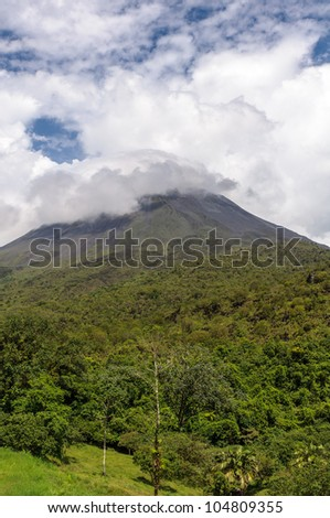 Volcano Arenal on a cloudy day- Costa Rica - stock photo