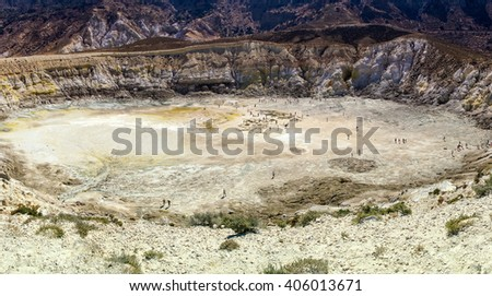 Volcano crater on Nisyros Island, Greece.