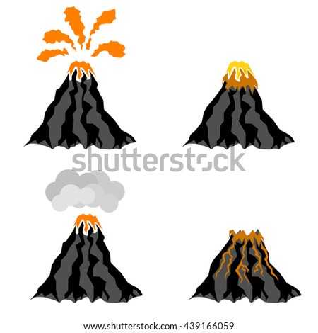 Volcano Erupting Icons Isolated on White Background. Peak of Mountain. Fiery Crater of Volcano. - stock photo