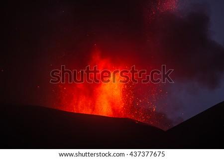 Volcano Eruption - stock photo