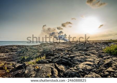 Volcano eruption in Hawaii - stock photo