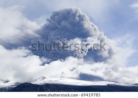 Volcano Eruption in Iceland - stock photo