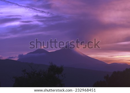 volcano, eruption, smoke, sky, mountain, nature, noise, natural, travel, landscape, active, fire, lava, catastrophe, magma, long, exposure, exploding, red, light, outdoor, sun, tourism, dark, power - stock photo