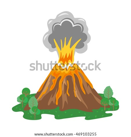 Volcano eruption with smoke and erupting lava. Raster version.
