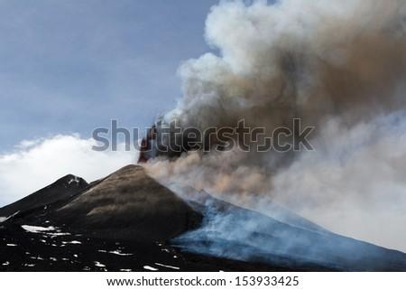 Volcano Etna eruption 12 April 2012 - Catania, Sicily  - stock photo