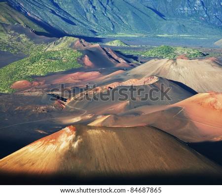 volcano Haleakala on Maui, Hawaii - stock photo