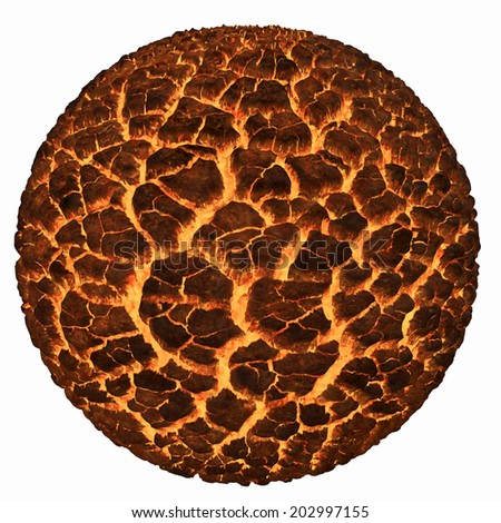 Volcano Lava sphere planet - stock photo