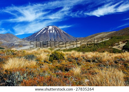 Volcano Ngauruhoe in Tongariro NP, New Zealand - stock photo
