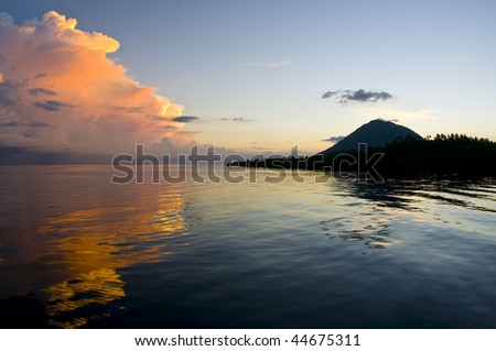 Volcano on sunset , Indonesia, Asia, Lembeh,