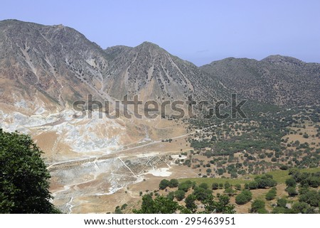 volcano on the island Nisyros, Greece - stock photo