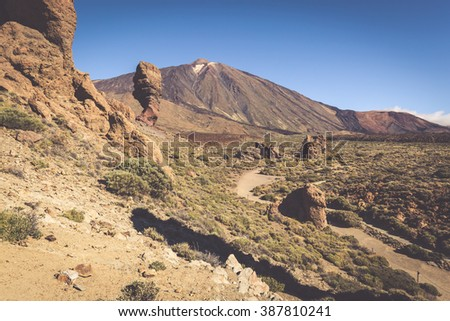 Volcano Pico del Teide, El Teide national park, Tenerife, Canary Islands, Spain - stock photo