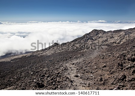 Volcano Piton de la fournaise, Reunion island, moon like, crater landscape - stock photo