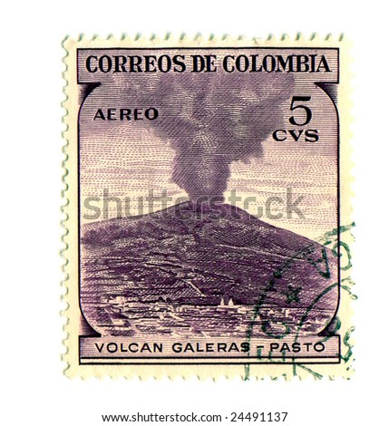 Volcano Postage Stamp Isolated on White