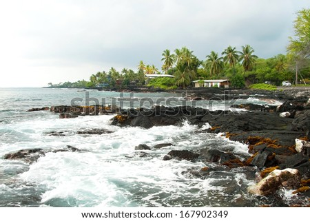 Volcano rocks with ocean and palm trees during the storm on Hawaii - stock photo
