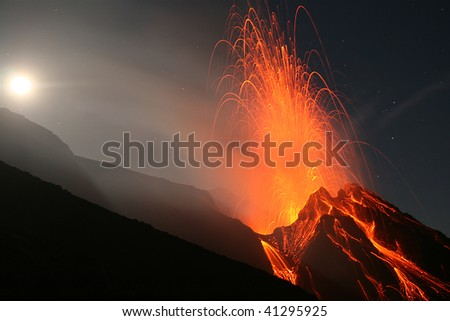 Volcano Stromboli at night