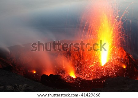 Volcano Stromboli, view from Pizzo - stock photo