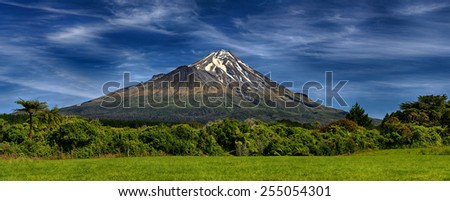 Volcano Taranaki, New Zealand - HDR panorama - stock photo