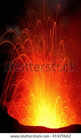 Volcano yasur in Vanuatu, south pacific - stock photo