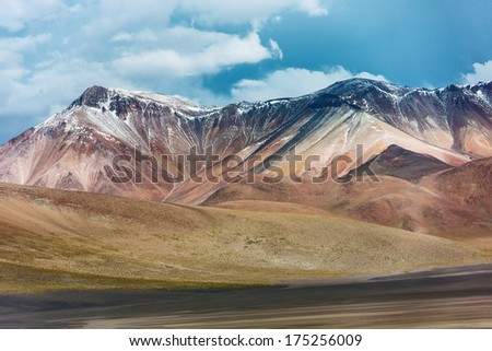 Volcanoes destroyed by time. Altiplano high plateau, Bolivia - stock photo