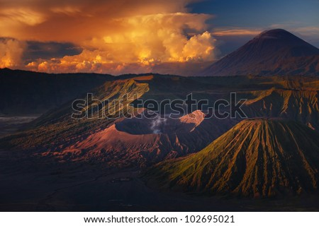 Volcanoes in Bromo Tengger Semeru National Park - stock photo