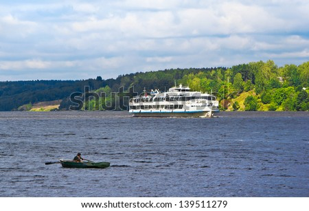 Volga river near  Plyos, Ivanovo region of Russia - stock photo