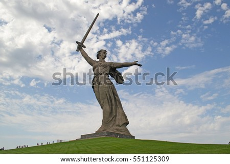 "VOLGOGRAD, RUSSIA - AUGUST, 04, 2016: the Famous sculpture ""the Motherland calls!"" on Mamaev Kurgan"