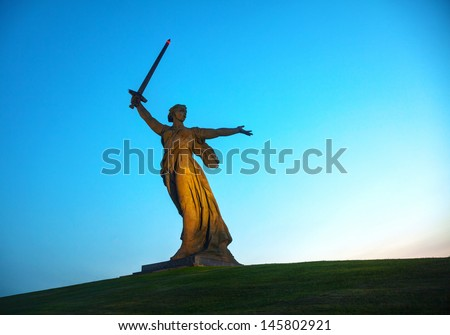 VOLGOGRAD, RUSSIA - July 09: 'The Motherland calls!' monument on July 09, 2013 in Volgograd, Russia. The monumental memorial was constructed in 1967, and is crowned by a huge  statue of the Motherland