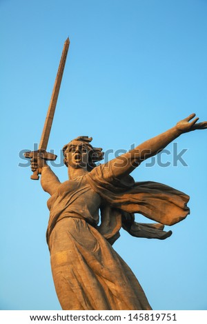 VOLGOGRAD, RUSSIA - July 10: 'The Motherland calls!' monument on July 10, 2013 in Volgograd, Russia. It was constructed in 1967, and is crowned by a huge allegorical statue of the Motherland.