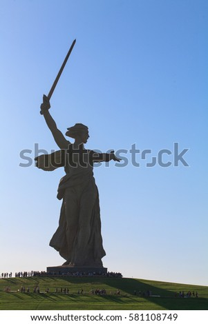 VOLGOGRAD, RUSSIA - MAY 9, 2013: The monument the Motherland calls of the Mamaev Kurgan in Volgograd. The hero city, the place of the battle of Stalingrad.