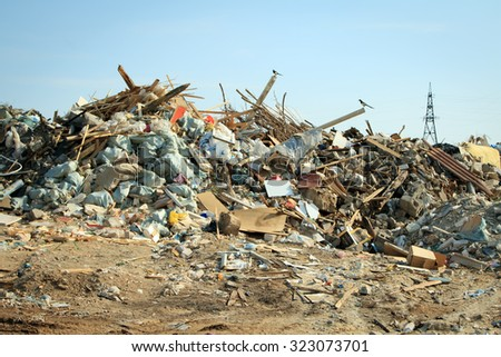 Volgograd, Russian Federation - September10, 2015: Large garbage dump waste