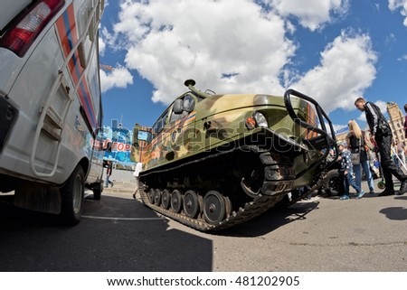 VOLGOGRAD - SEPTEMBER 10: All terrain vehicle on tracks at the exhibition of special equipment of the rescue services of Russia. September 10, 2016 in Volgograd, Russia.
