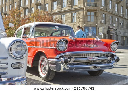 VOLGOGRAD - SEPTEMBER 6:Old red Chevrolet on exhibition of vintage cars in celebration of the 425th anniversary of the city . September 6, 2014 in Volgograd, Russia.